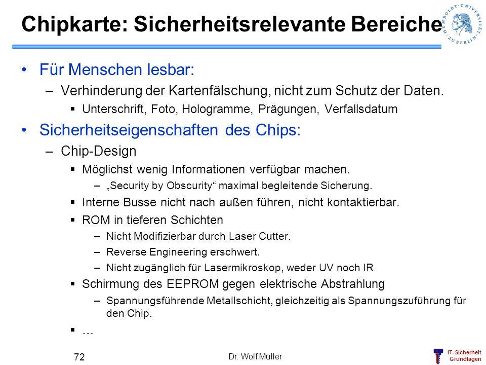 Chipkarte: Sicherheitsrelevante Bereiche