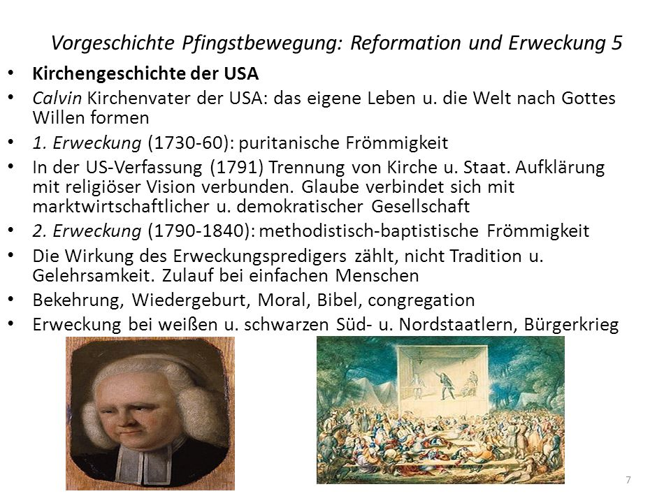 Vorgeschichte Pfingstbewegung: Reformation und Erweckung 5