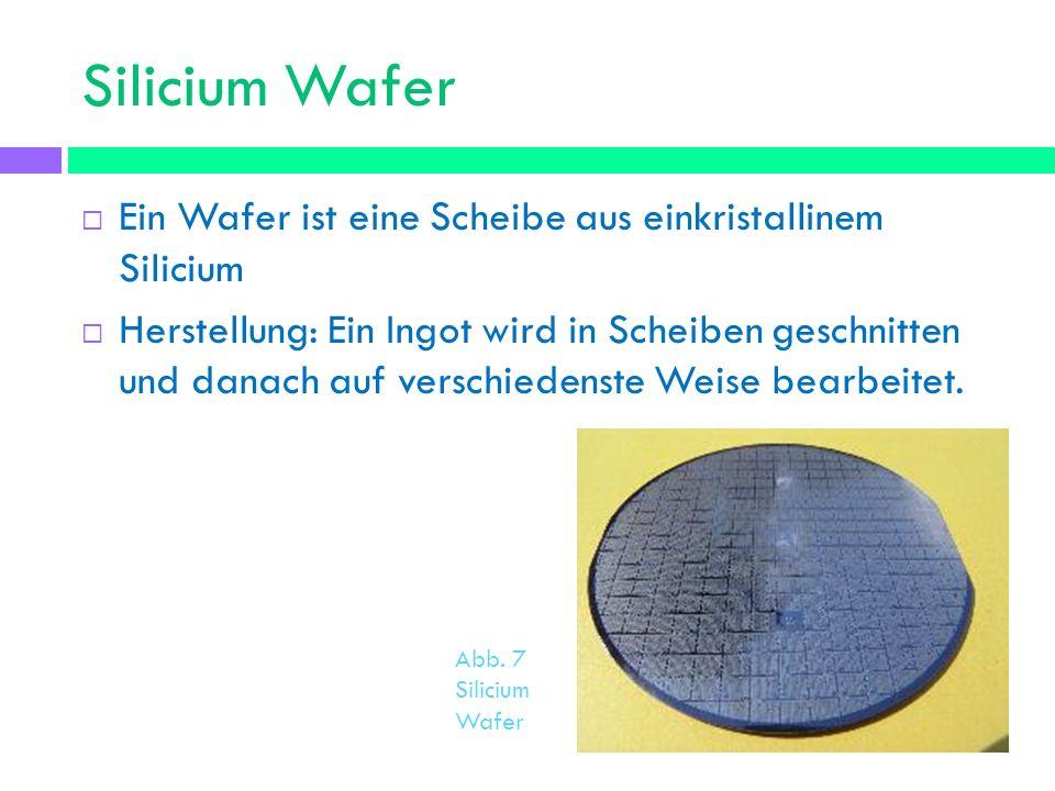 Silicium Wafer Ein Wafer ist eine Scheibe aus einkristallinem Silicium