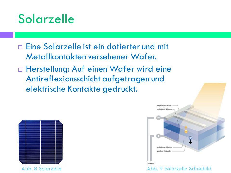 Solarzelle Eine Solarzelle ist ein dotierter und mit Metallkontakten versehener Wafer.