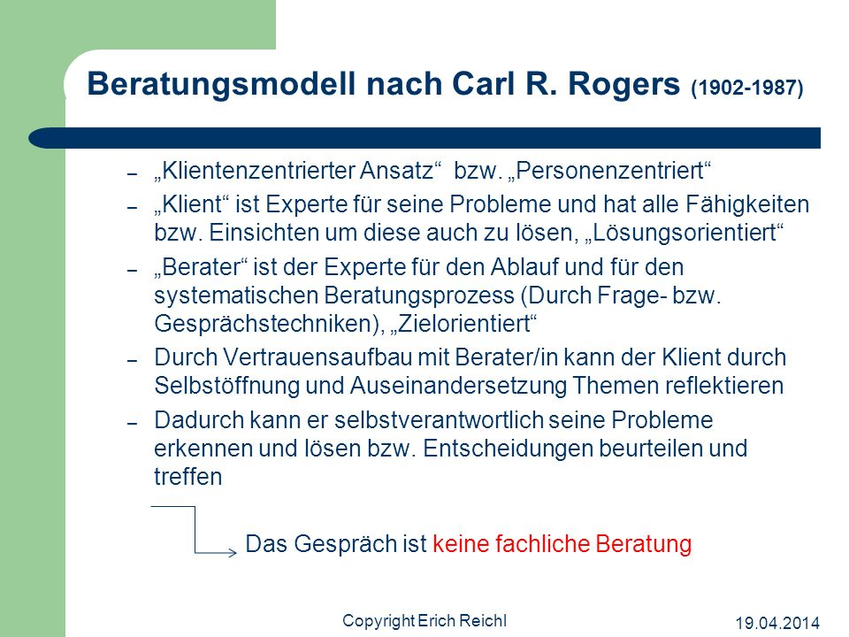 Beratungsmodell nach Carl R. Rogers (1902-1987)