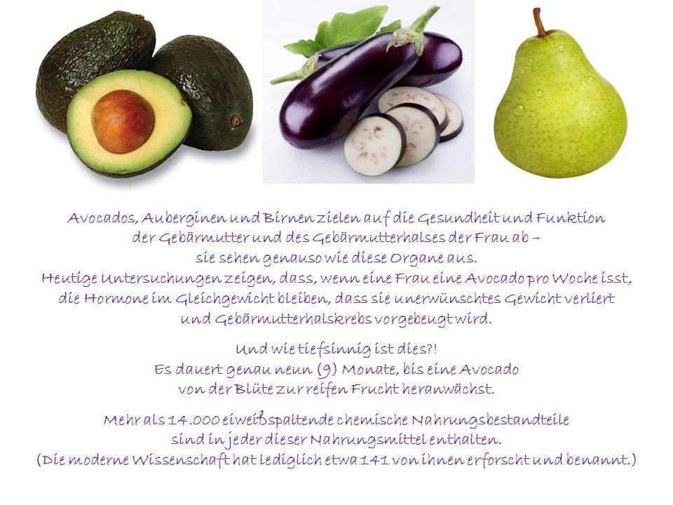 Avocados, Auberginen und Birnen zielen auf die Gesundheit und Funktion