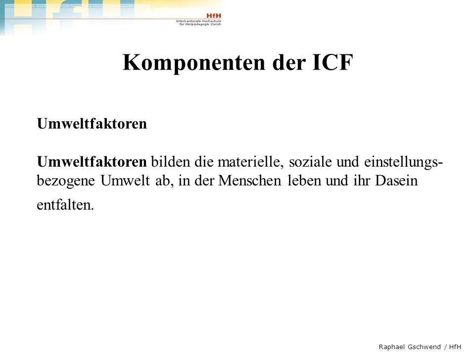 Komponenten der ICF Umweltfaktoren
