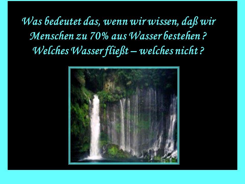 Was bedeutet das, wenn wir wissen, daß wir Menschen zu 70% aus Wasser bestehen .