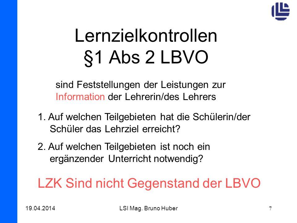 Lernzielkontrollen §1 Abs 2 LBVO