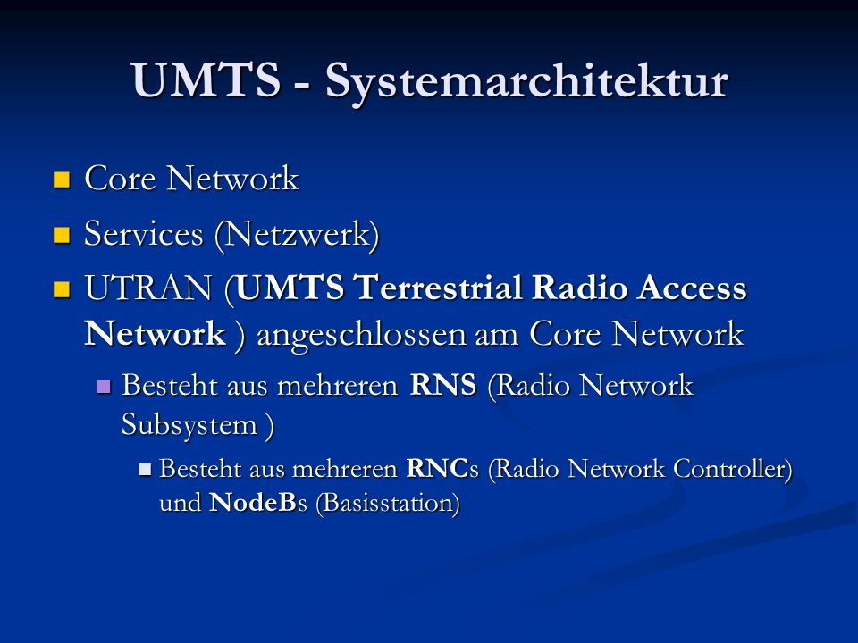 UMTS - Systemarchitektur