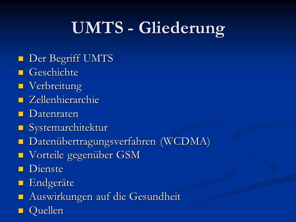 UMTS - Gliederung Der Begriff UMTS Geschichte Verbreitung