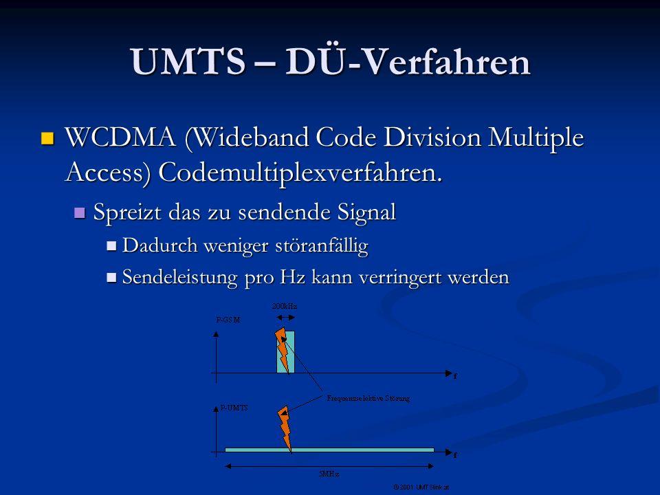 UMTS – DÜ-Verfahren WCDMA (Wideband Code Division Multiple Access) Codemultiplexverfahren. Spreizt das zu sendende Signal.