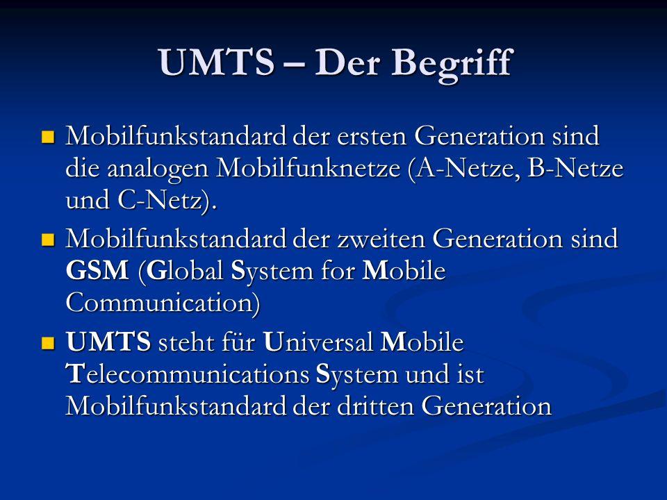 UMTS – Der Begriff Mobilfunkstandard der ersten Generation sind die analogen Mobilfunknetze (A-Netze, B-Netze und C-Netz).