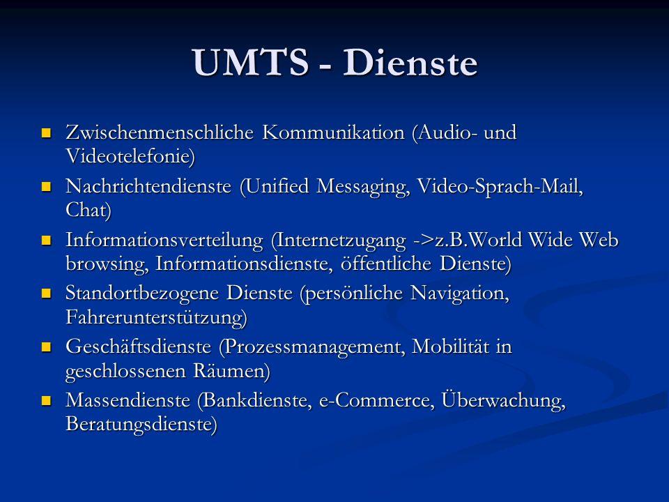 UMTS - Dienste Zwischenmenschliche Kommunikation (Audio- und Videotelefonie) Nachrichtendienste (Unified Messaging, Video-Sprach-Mail, Chat)