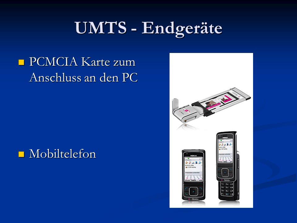 UMTS - Endgeräte PCMCIA Karte zum Anschluss an den PC Mobiltelefon
