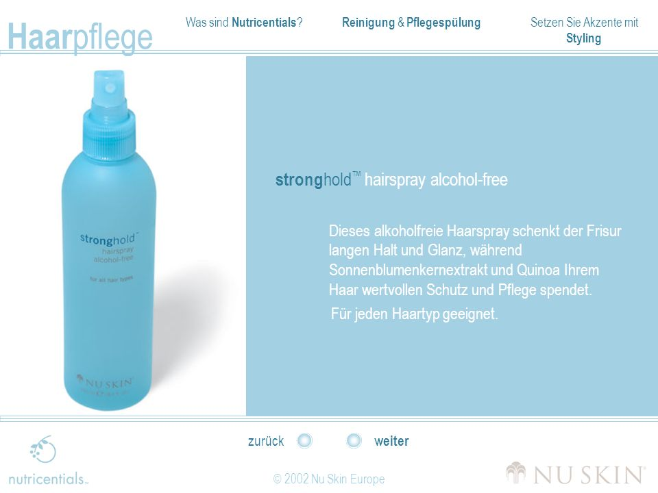stronghold™ hairspray alcohol-free