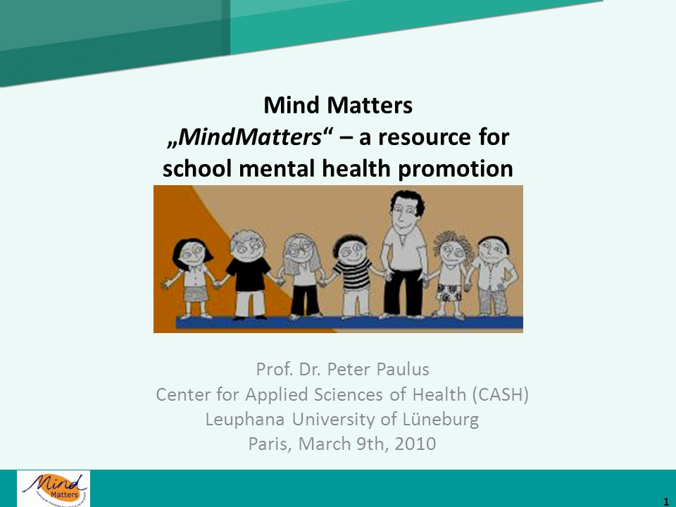 "Mind Matters ""MindMatters – a resource for school mental health promotion"
