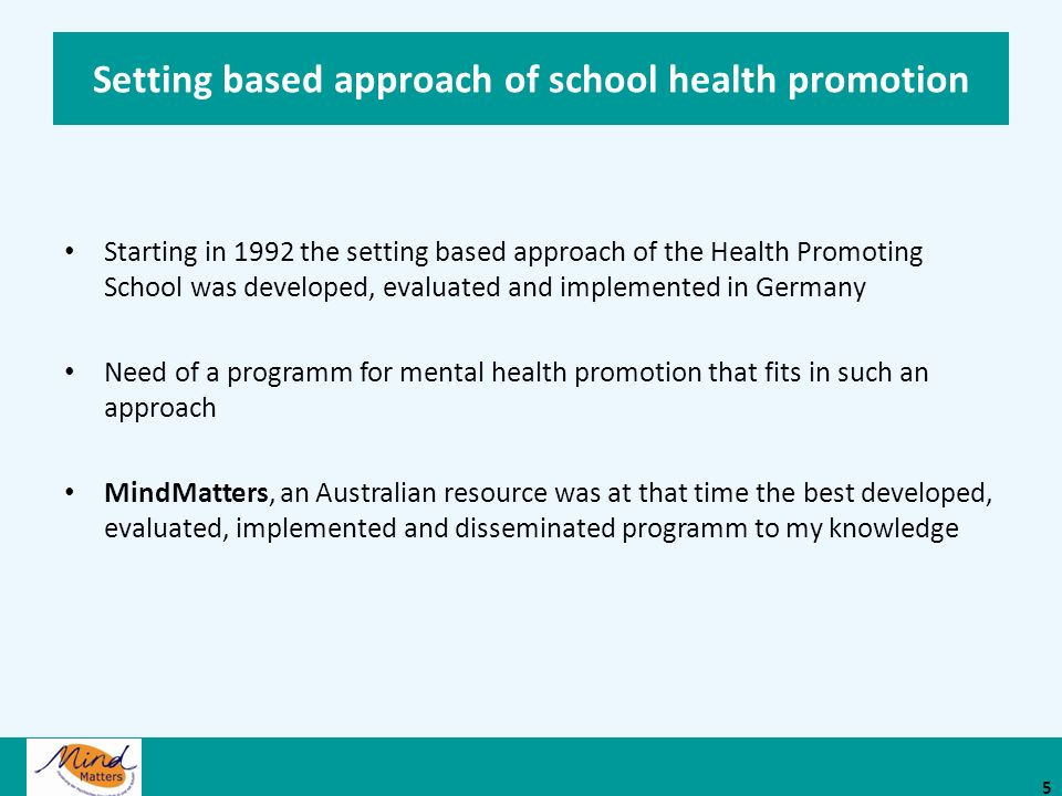Setting based approach of school health promotion