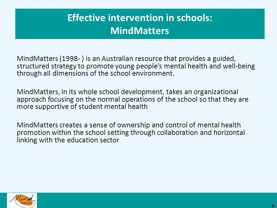 Effective intervention in schools: MindMatters