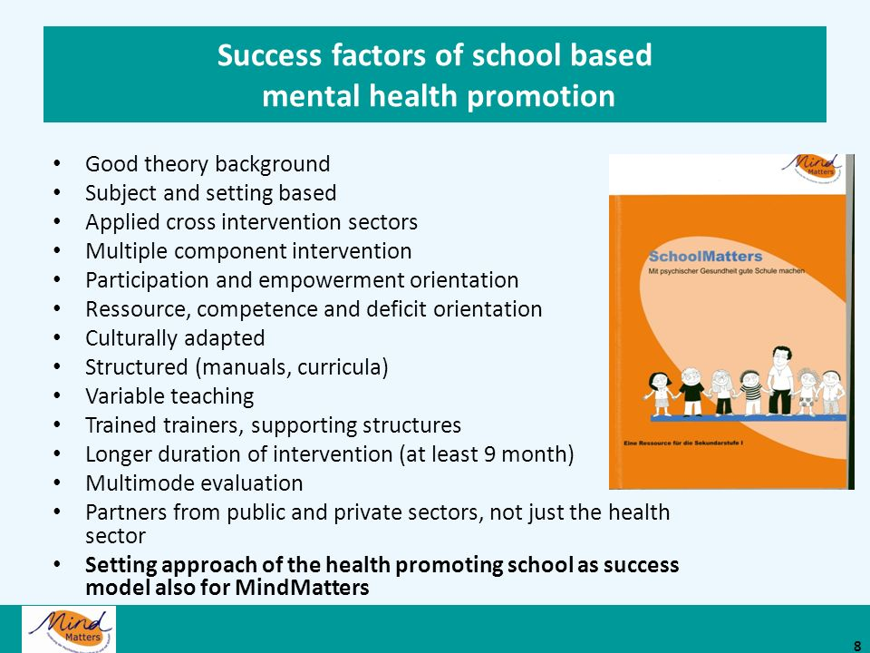 Success factors of school based mental health promotion