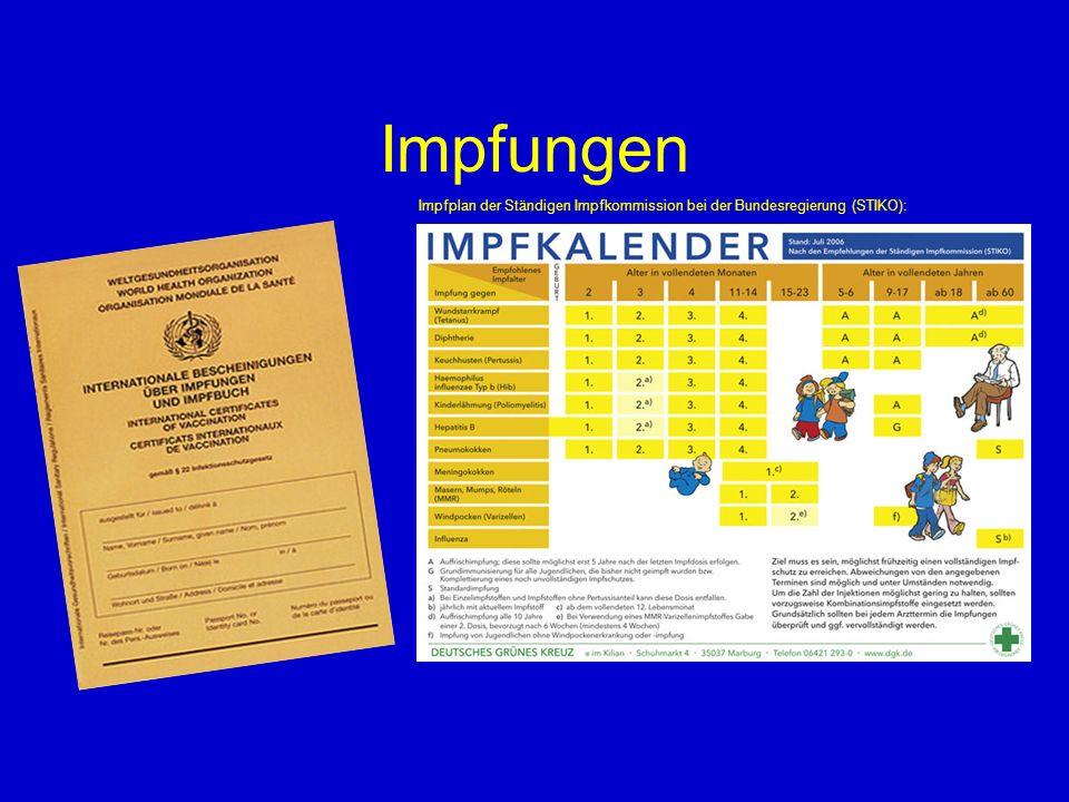 Impfungen Impfplan der Ständigen Impfkommission bei der Bundesregierung (STIKO): 5 55