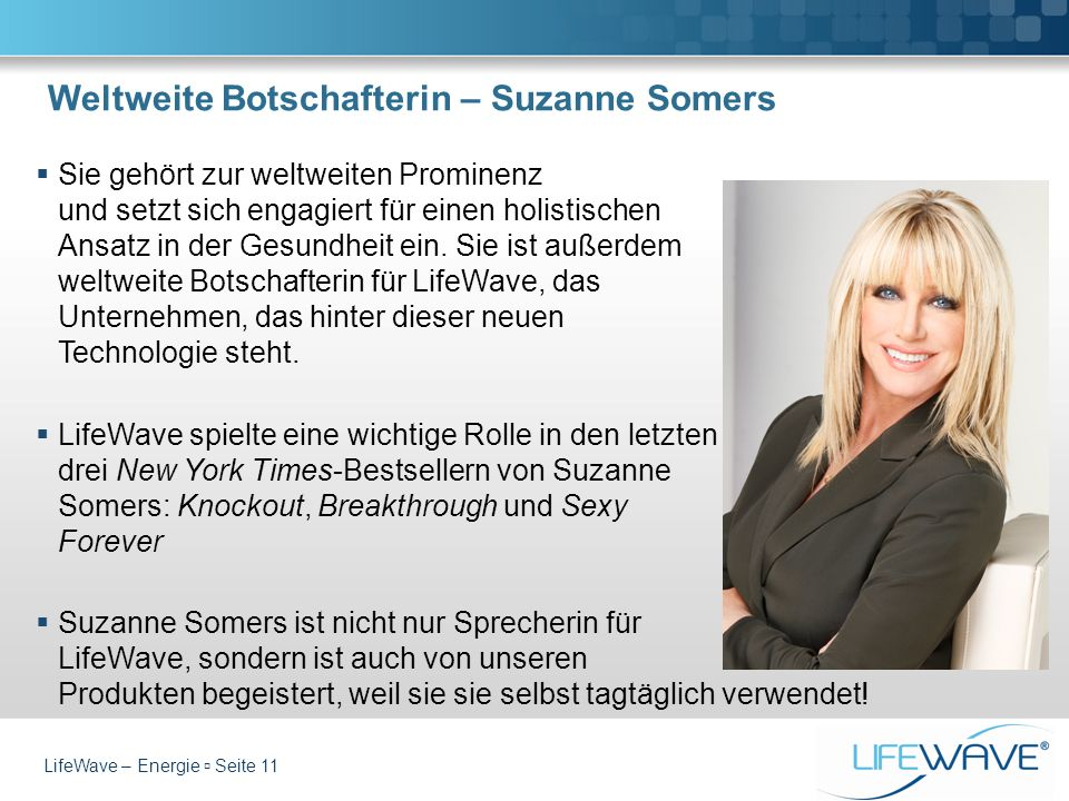 Weltweite Botschafterin – Suzanne Somers