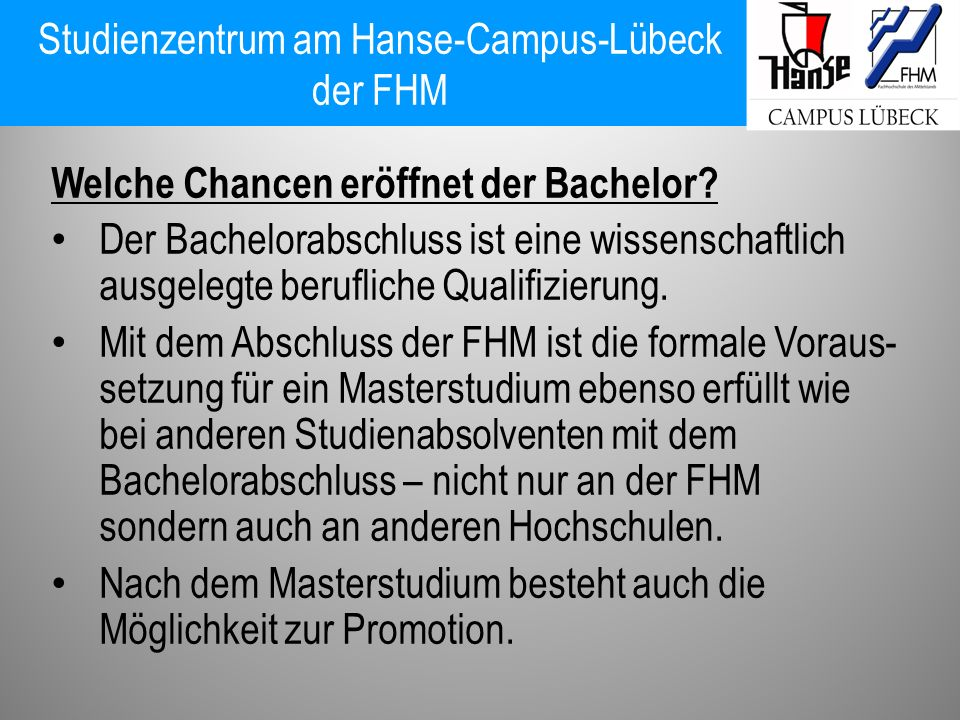 Studienzentrum am Hanse-Campus-Lübeck der FHM