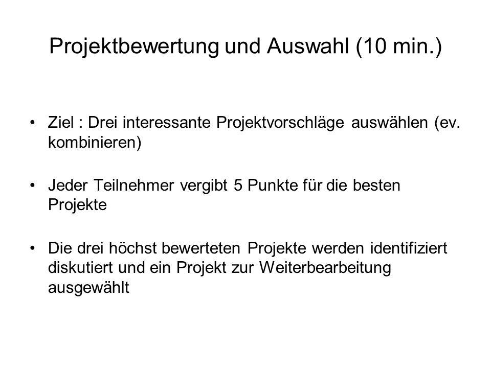 Projektbewertung und Auswahl (10 min.)