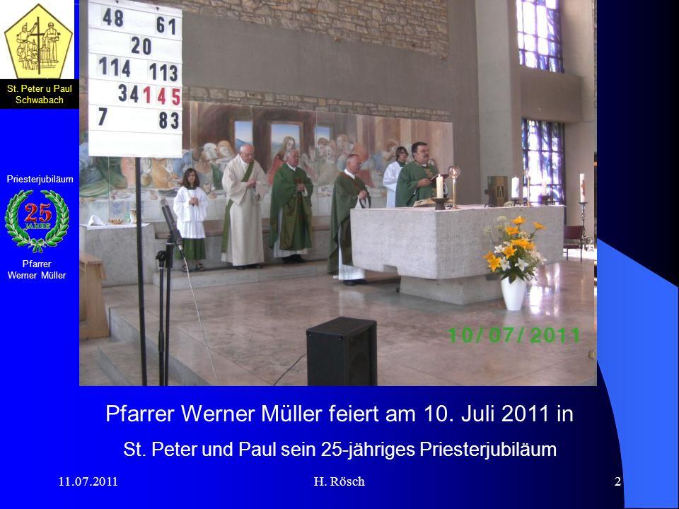 Pfarrer Werner Müller feiert am 10. Juli 2011 in