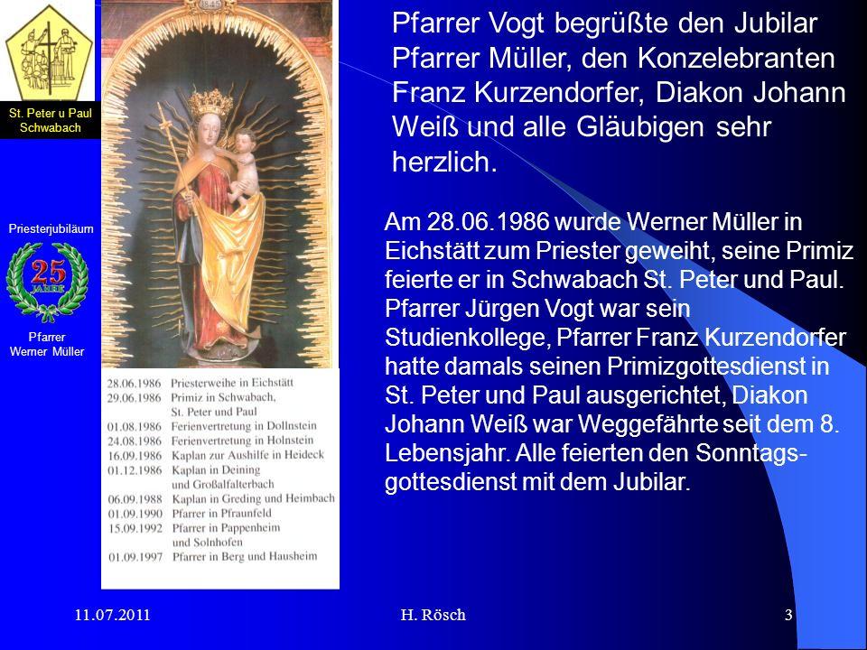 Pfarrer Vogt begrüßte den Jubilar Pfarrer Müller, den Konzelebranten Franz Kurzendorfer, Diakon Johann Weiß und alle Gläubigen sehr herzlich.