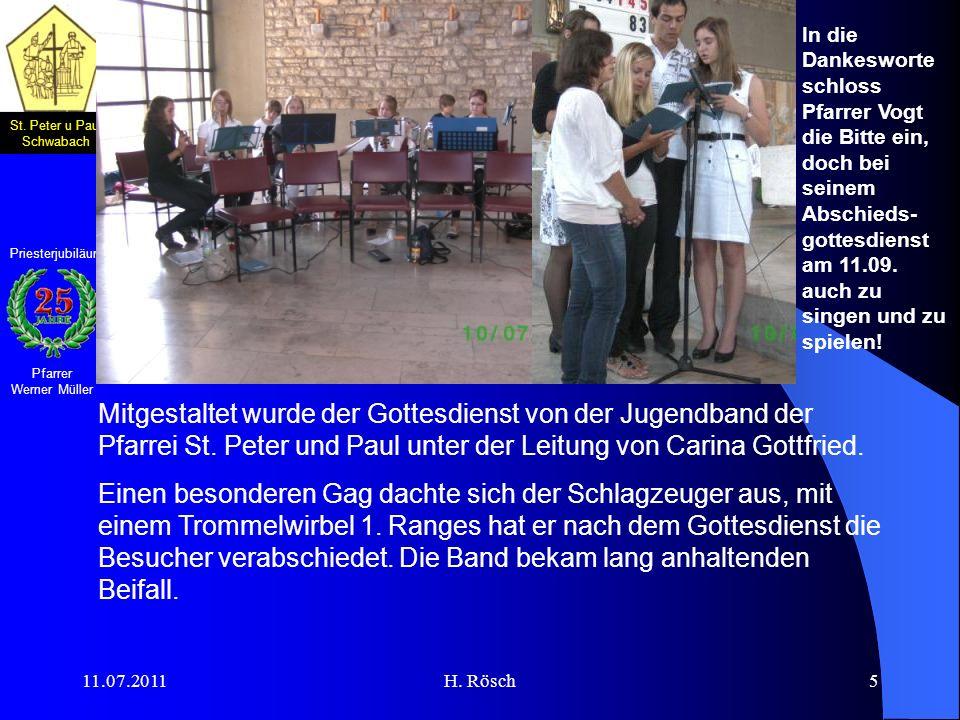 In die Dankesworte schloss Pfarrer Vogt die Bitte ein, doch bei seinem Abschieds-gottesdienst am 11.09. auch zu singen und zu spielen!