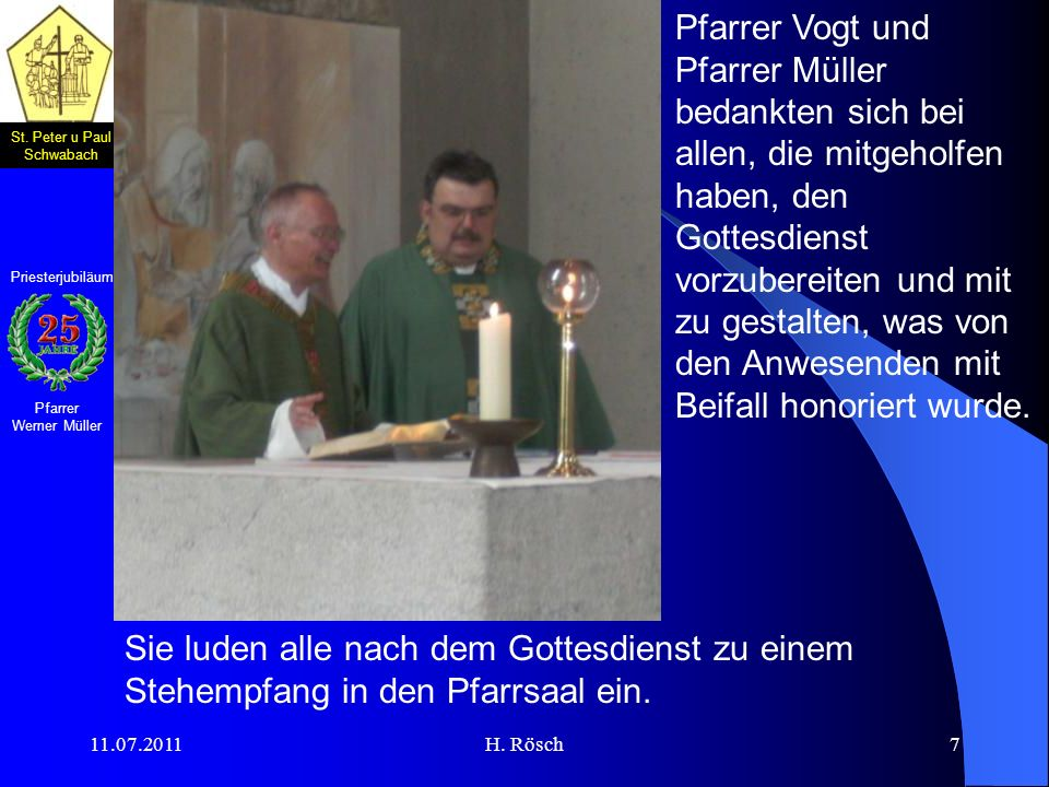 Pfarrer Vogt und Pfarrer Müller bedankten sich bei allen, die mitgeholfen haben, den Gottesdienst vorzubereiten und mit zu gestalten, was von den Anwesenden mit Beifall honoriert wurde.