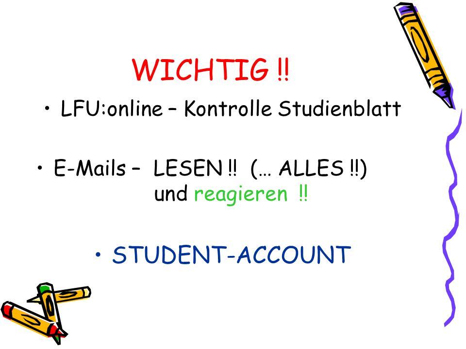 WICHTIG !! STUDENT-ACCOUNT LFU:online – Kontrolle Studienblatt