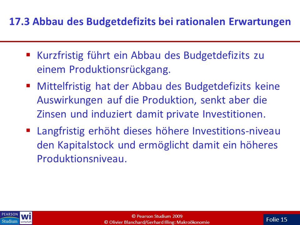 17.3 Abbau des Budgetdefizits bei rationalen Erwartungen