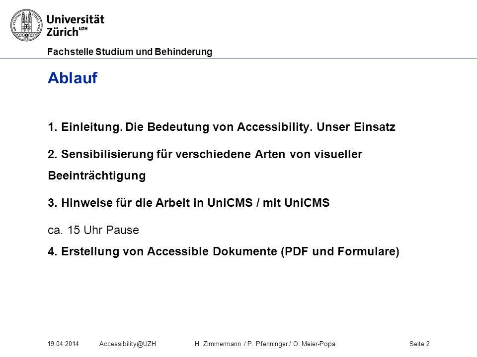 Ablauf 1. Einleitung. Die Bedeutung von Accessibility. Unser Einsatz