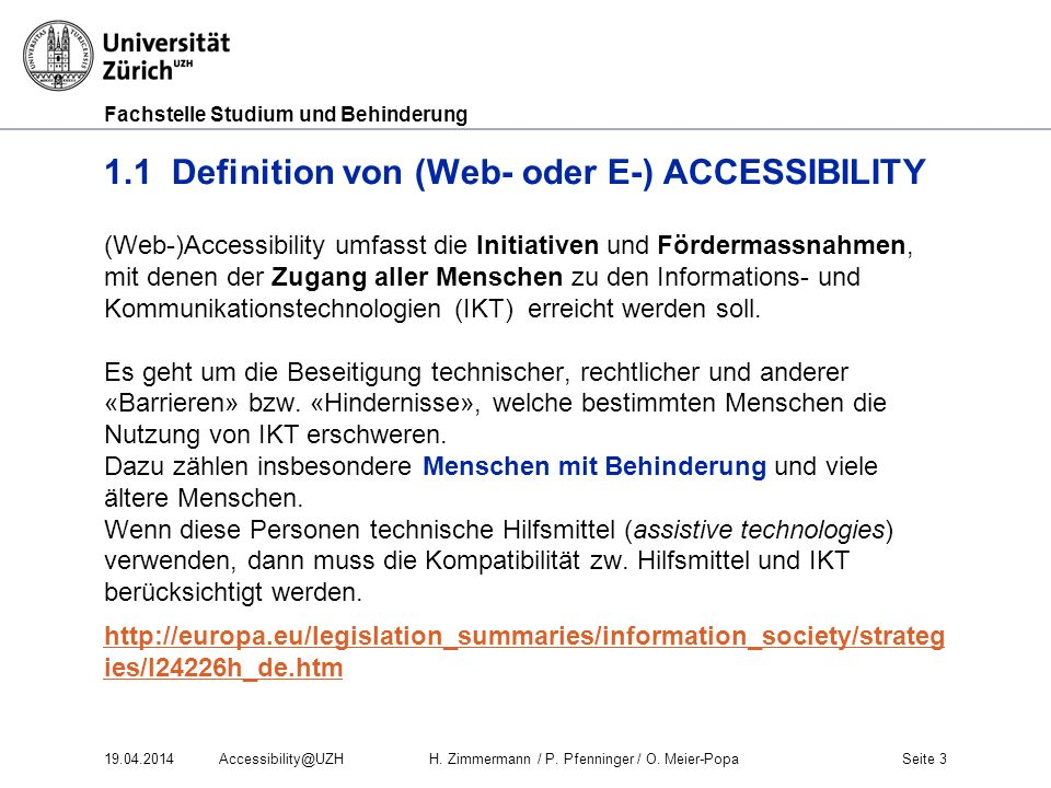 1.1 Definition von (Web- oder E-) ACCESSIBILITY