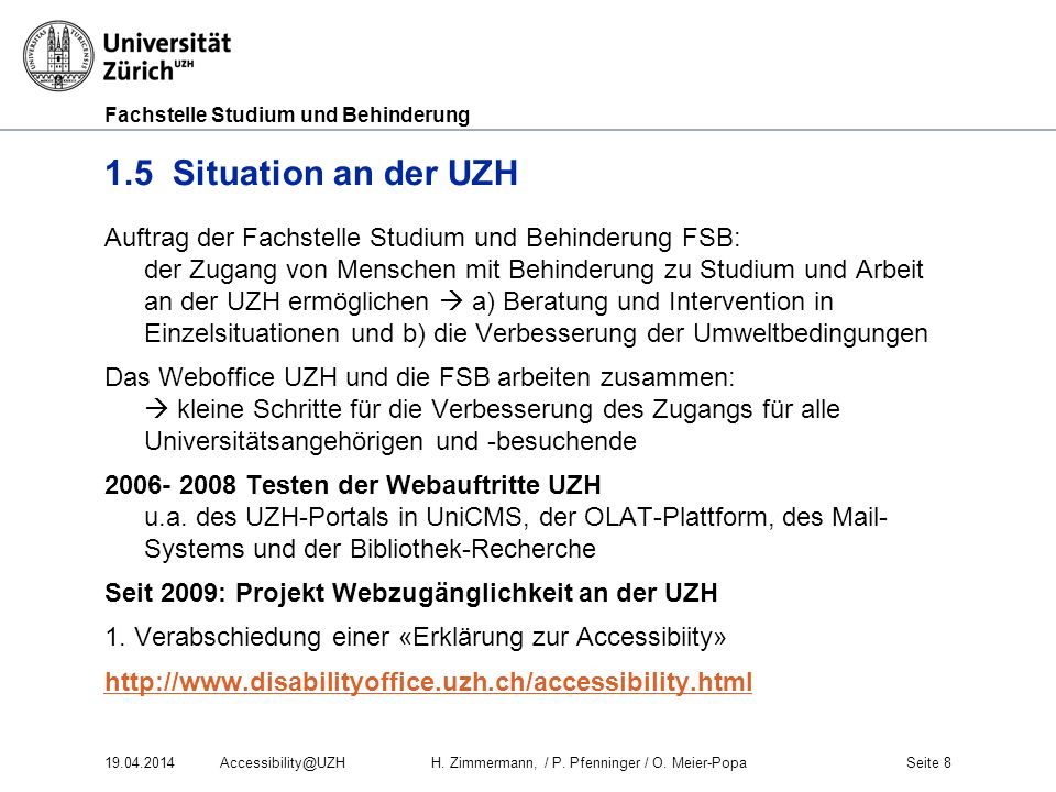 1.5 Situation an der UZH