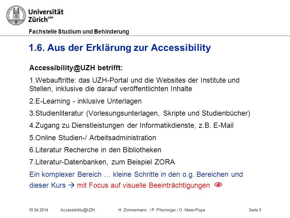 1.6. Aus der Erklärung zur Accessibility