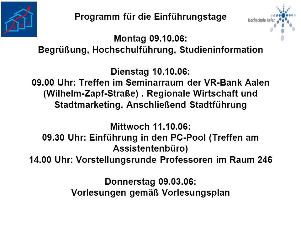 Programm für die Einführungstage Montag 09. 10