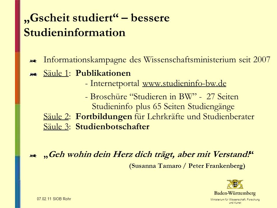 """Gscheit studiert – bessere Studieninformation"