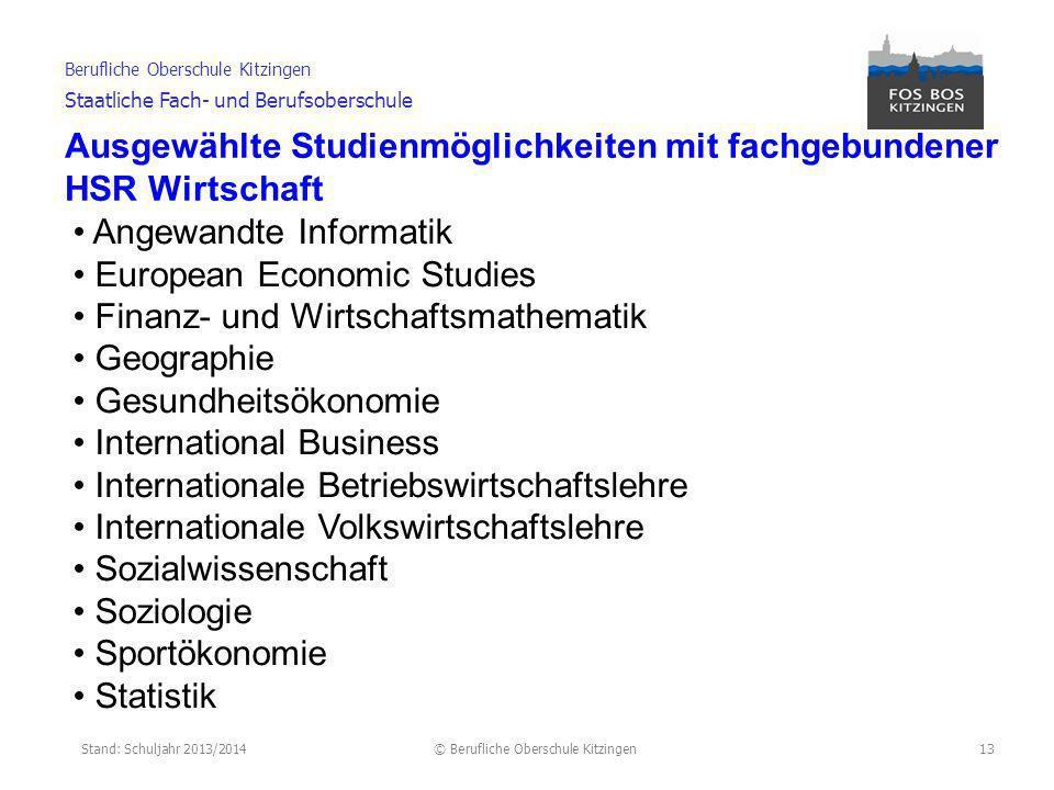 Ausgewählte Studienmöglichkeiten mit fachgebundener HSR Wirtschaft