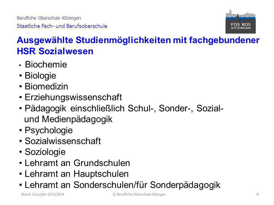 Ausgewählte Studienmöglichkeiten mit fachgebundener HSR Sozialwesen