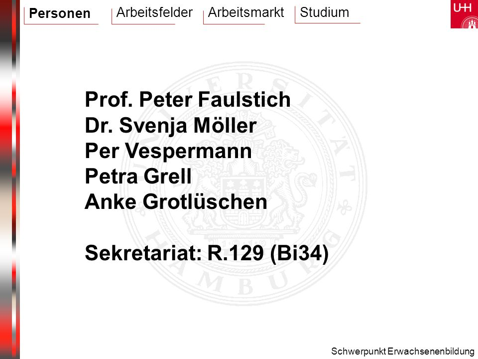 Prof. Peter Faulstich Dr. Svenja Möller Per Vespermann Petra Grell