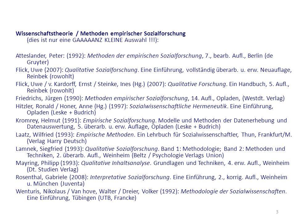 Wissenschaftstheorie / Methoden empirischer Sozialforschung (dies ist nur eine GAAAAANZ KLEINE Auswahl !!!):