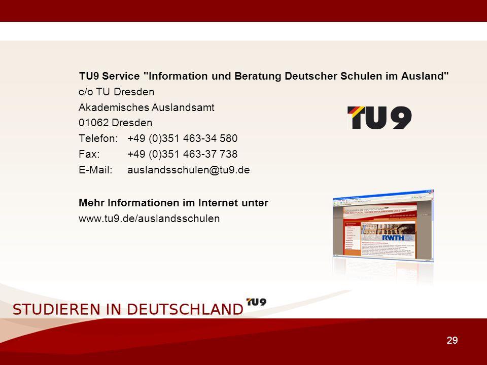 TU9 Service Information und Beratung Deutscher Schulen im Ausland