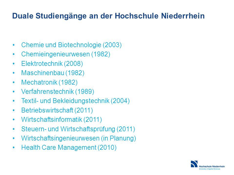 Duale Studiengänge an der Hochschule Niederrhein