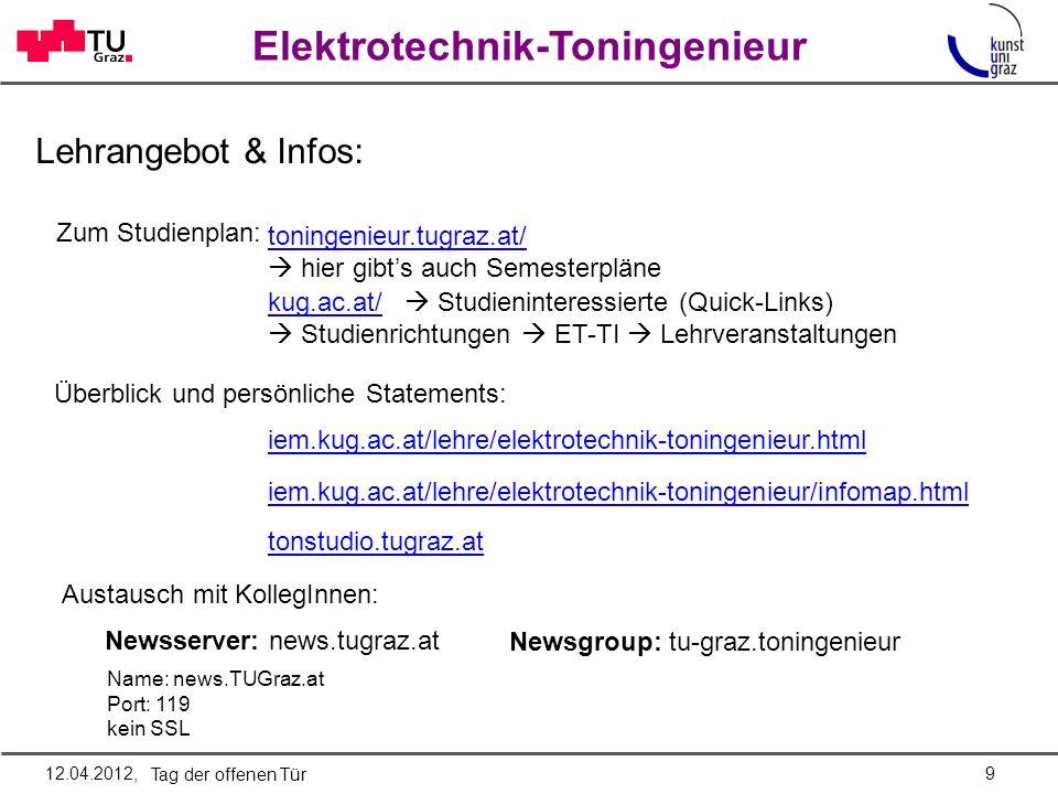 Lehrangebot & Infos: Zum Studienplan: toningenieur.tugraz.at/