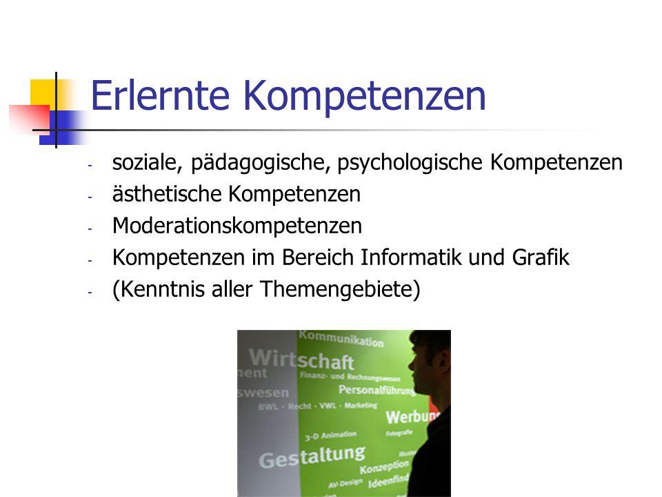 Erlernte Kompetenzen soziale, pädagogische, psychologische Kompetenzen