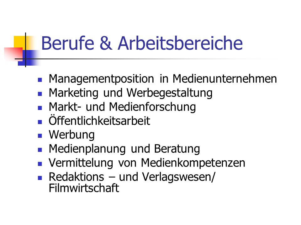 Berufe & Arbeitsbereiche