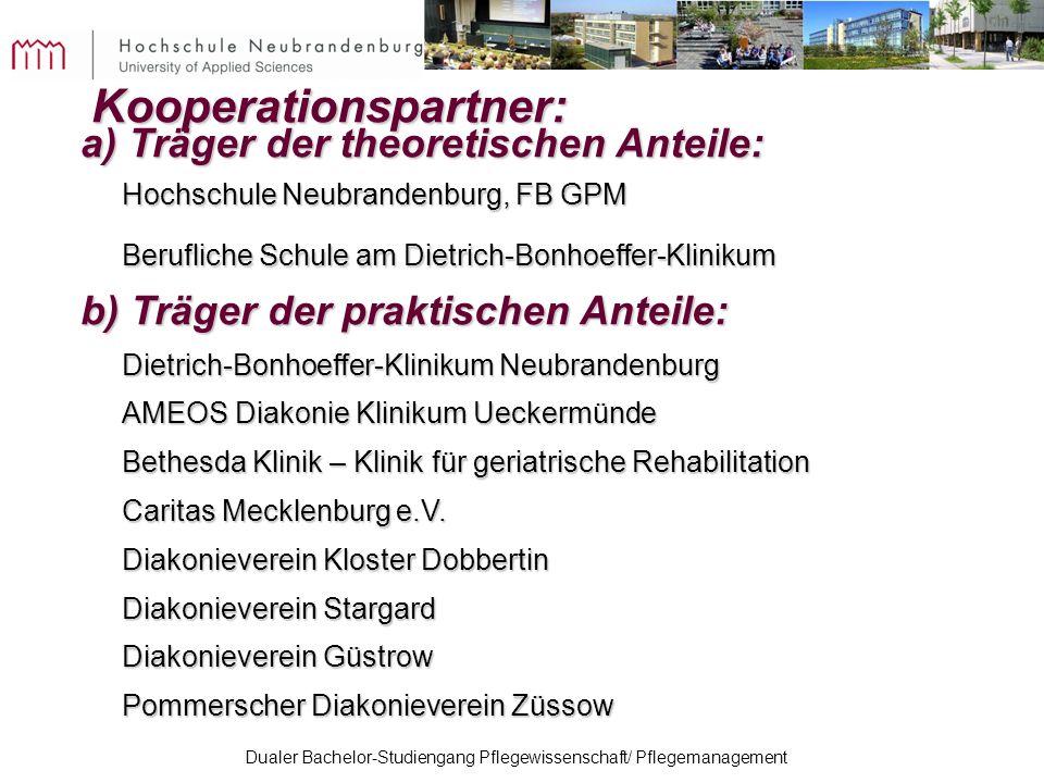 Kooperationspartner: a) Träger der theoretischen Anteile: