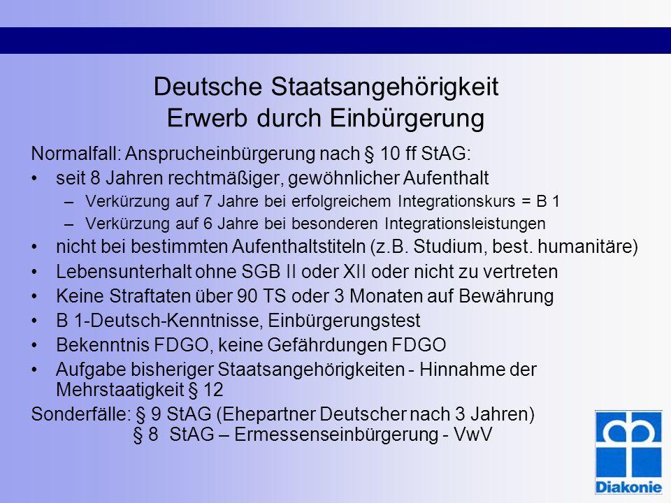 Deutsche Staatsangehörigkeit Erwerb durch Einbürgerung