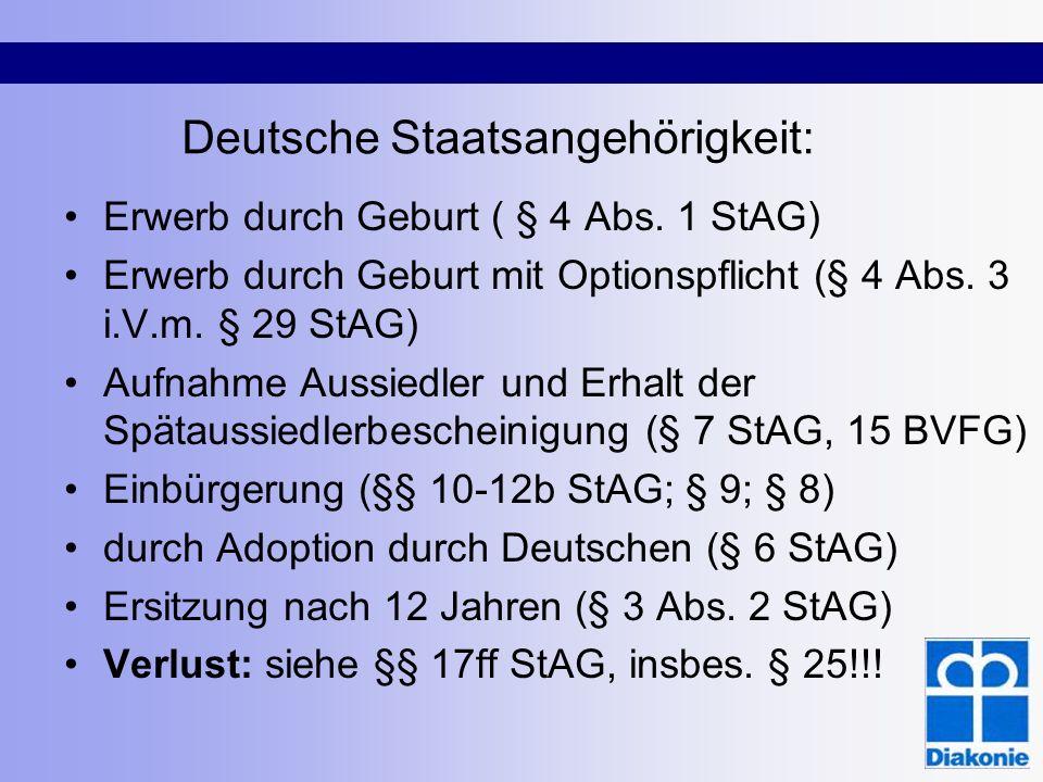Deutsche Staatsangehörigkeit: