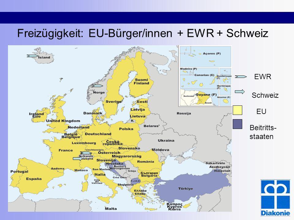 Freizügigkeit: EU-Bürger/innen + EWR + Schweiz