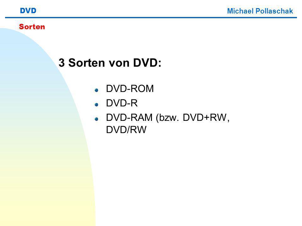 3 Sorten von DVD: DVD-ROM DVD-R DVD-RAM (bzw. DVD+RW, DVD/RW DVD